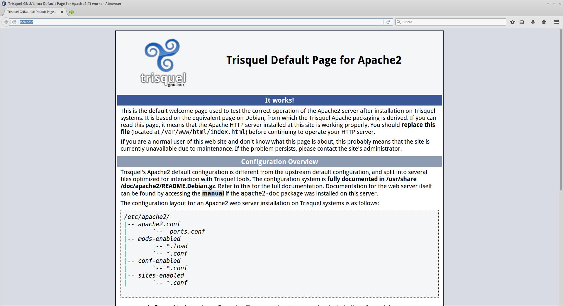 Apache localhost on Trisquel