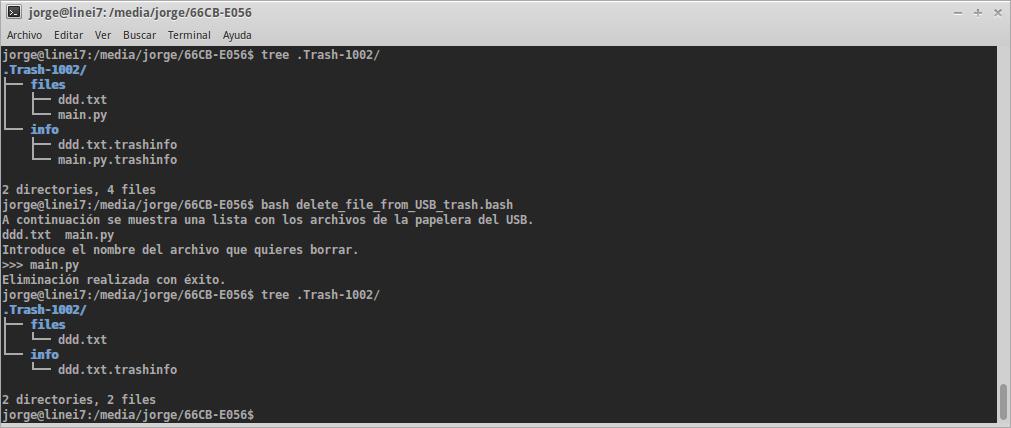 Ejecución del script que borra el contenido de la papelera de un dispositivo USB.