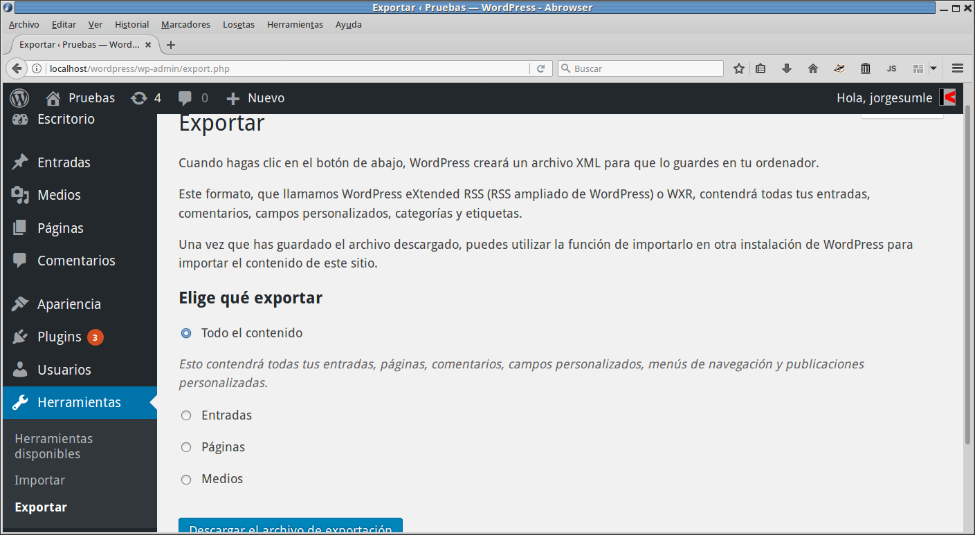 Exportar XML de Wordpress