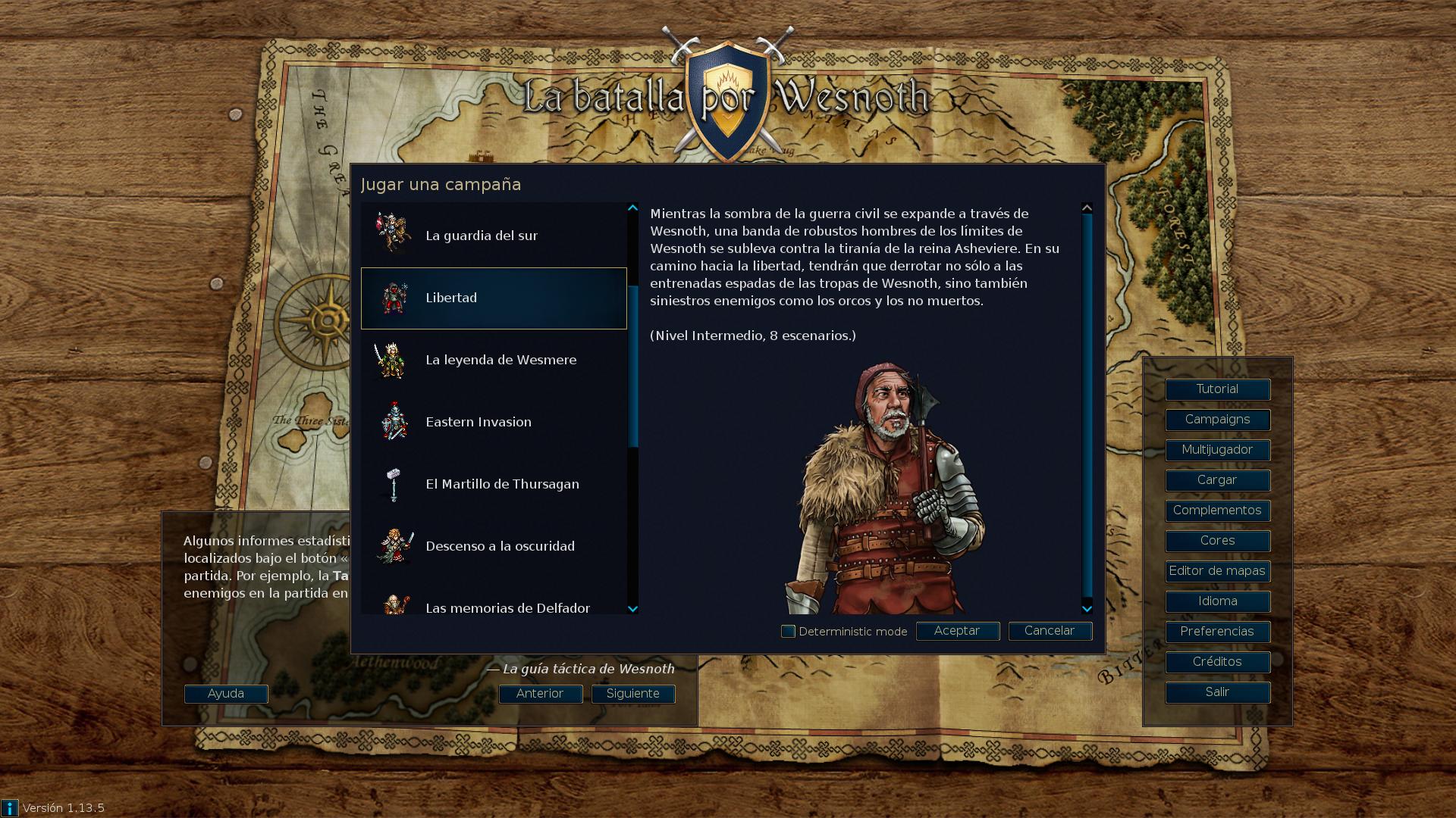 Selección de campañas en La batalla por Wesnoth