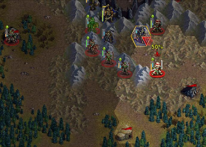 Preparando un ataque en La batalla por Wesnoth