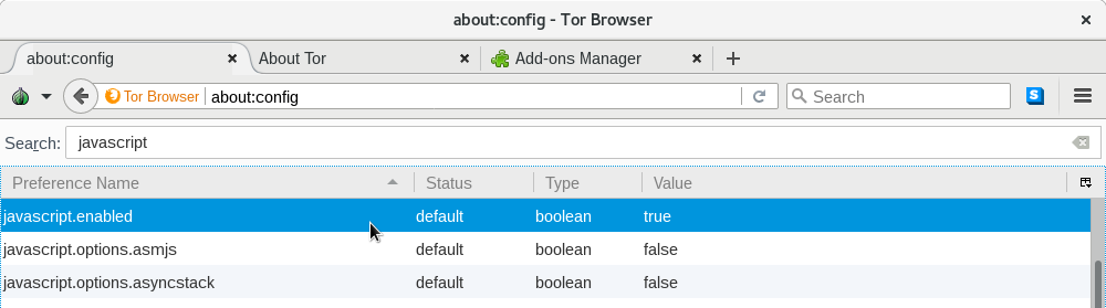 Changing the value of the preference javascript.enabled in Tor Browser