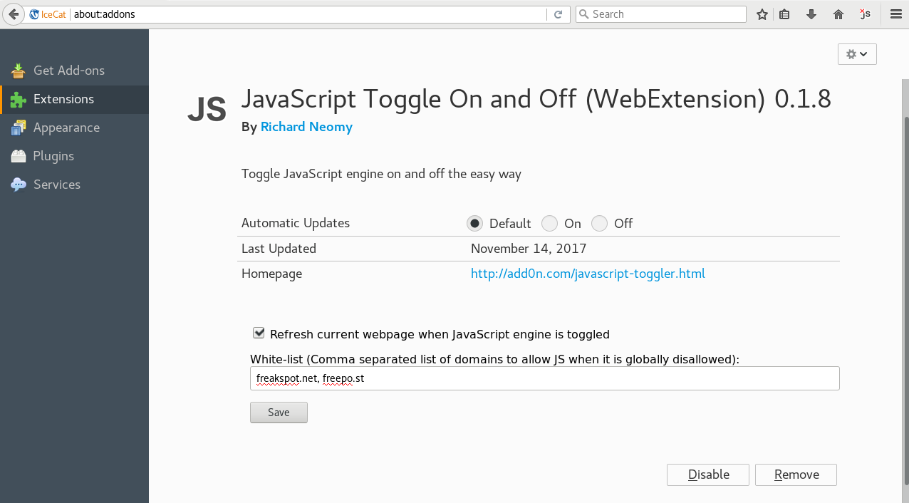 Adding websites to the blank list of JavaScript Toggle On and Off