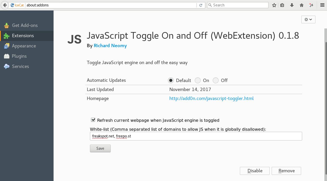 Añadiendo sitios web a la lista blanca de JavaScript Toggle On and Off